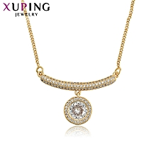 XUPING  Necklace Fashion Ladies 14K Crystal Necklace- Gold