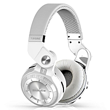 Bluedio T2S Rotary Folding Bluetooth Headset Wireless Over-ear Headphone with Microphone - WHITE