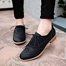 Brogue Women Lace Up Wing Tip Oxford College Style Flat Fashion Shoes Pointy Toe black