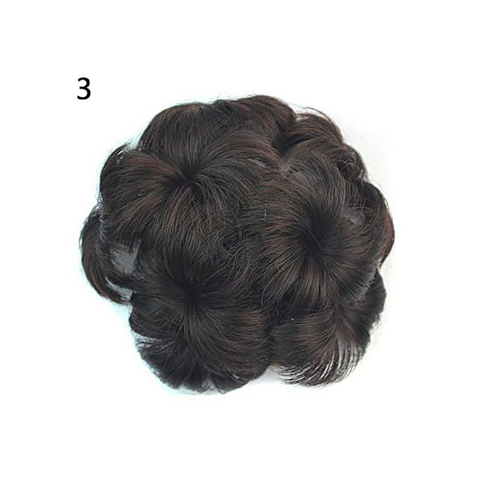 Buy Sanwood Wavy Curly Synthetic Hair Bun Cover Hairpiece Clip Wig