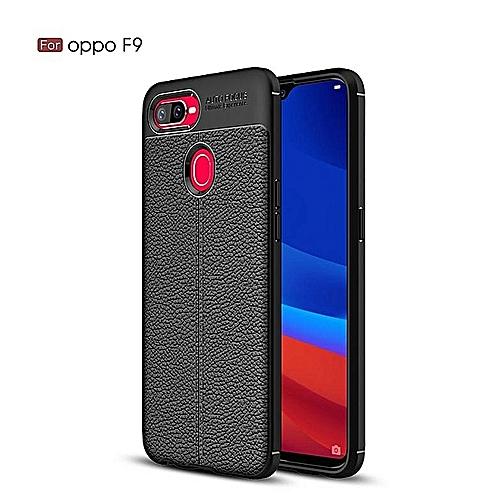 Oppo F9 Shock Proof Carbon Fiber Rugged Armor Soft Back Case Black