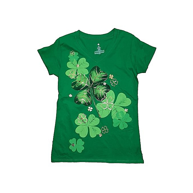 65a7196f Generic St. Patrick's Day Shamrock Stamp Green Graphic Women T-Shirt ...