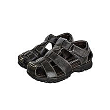 Black Open Sandals With Side Velcro Straps