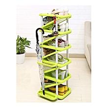 6 Layers Multi-functional Plastic Shoe Shelf  Rack Cabinet – Green