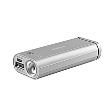 BLAZER-6 Silver Power Bank, 3-In-1 Portable High Capacity 6000mAh Power Bank with Rechargeable Flameless Lighter, USB Charging Port with LED Torch Light for Smartphones, Tablets, Travel