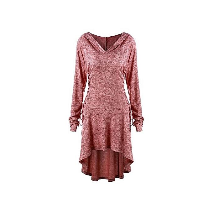3aa5675cf1697 Generic HL Plus Size Lace Up Dip Hem Hoodie(XL-5XL) (Brick-red ...