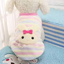 Home-Winter Flannel Cute Pattern Dog Cat Sweater Small Puppy Pet Clothes Coat white & pink