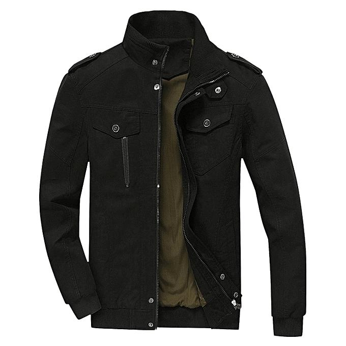 Mens Cotton Zip Up Jacket - BLACK