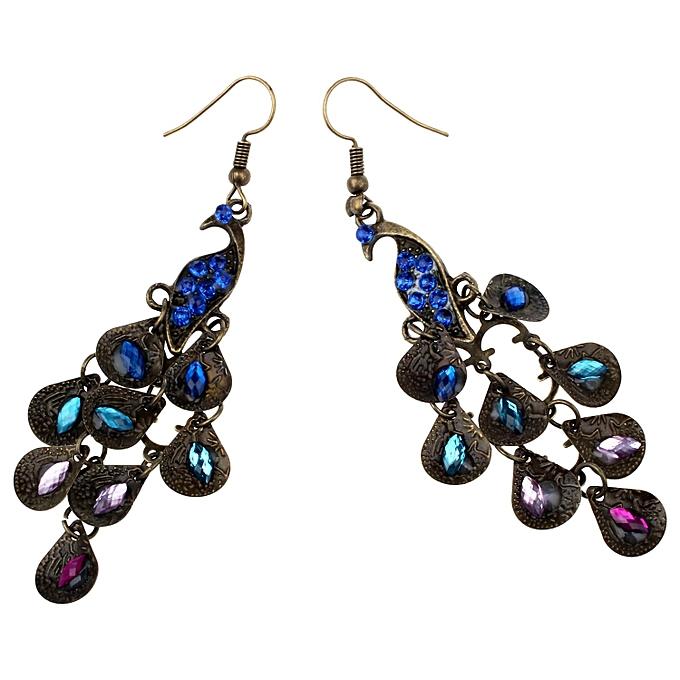 8ba4fd9cbd2f7d Generic New Lady Vintage Retro Blue The Prancing Peacock Earrings ...