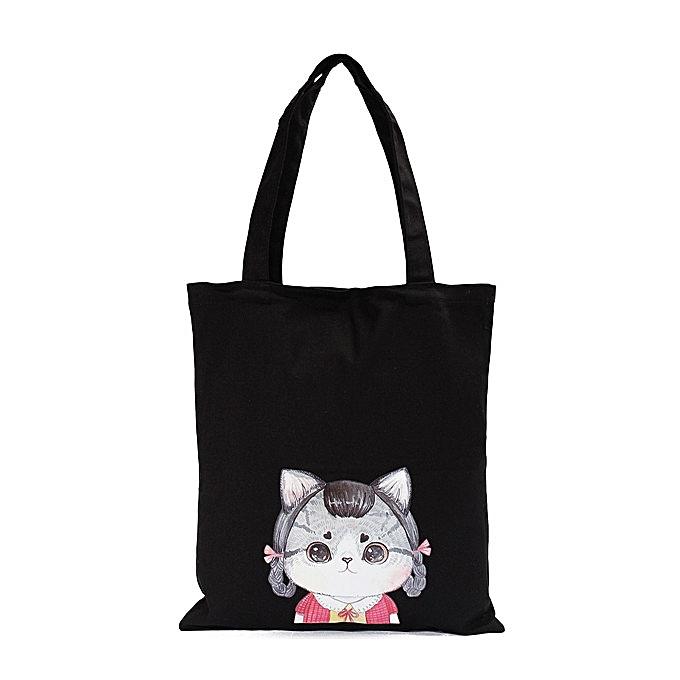 ... Women Cat Black Canvas Handbags Totes Large Capcity Shoulder Bags  Shopping Bags ... ca4a7fd63ac1e
