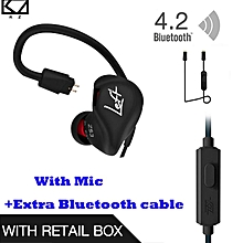 KZ ZS3 Ergonomic Detachable Cable Earphone In Ear Audio Monitors Noise Isolating HiFi Music Sports Earbuds With Microphone +Blueteeth Cable Black   XXZ-Z