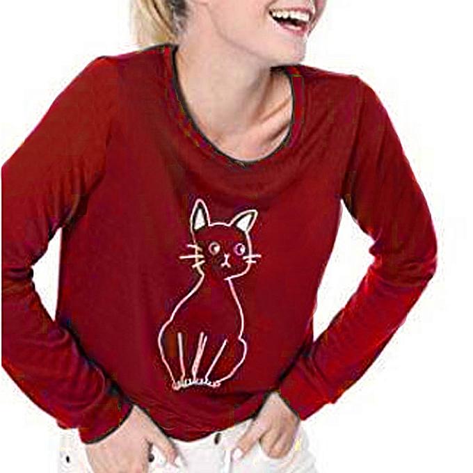 ac07a2557 huskspo Fashion Women Casual Cat Splice Loose Long Sleeve Round Neck T-shirt  Tops