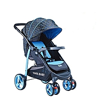 2 way Baby Stroller/Foldable Pram Portable Baby Stroller With Universal Casters - blue