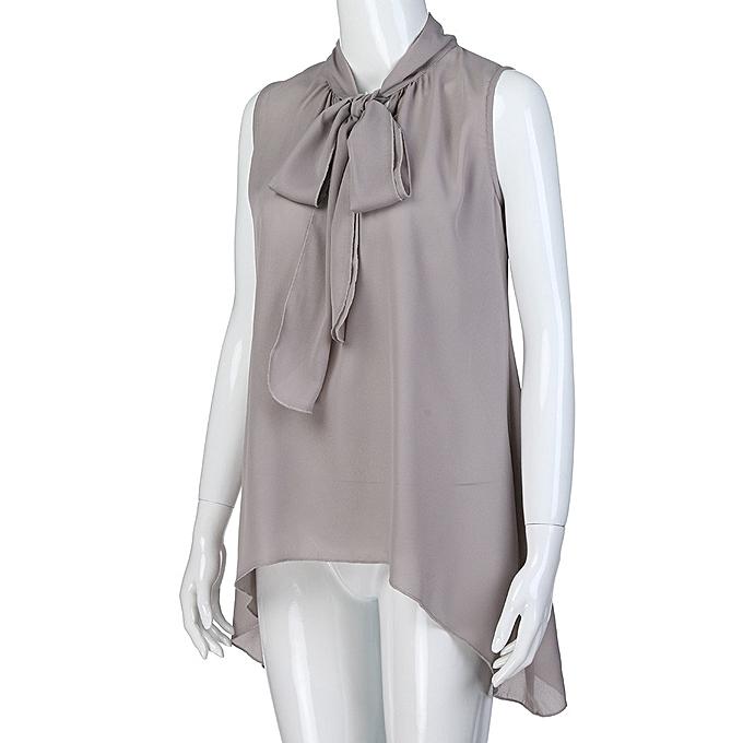 44113df2b3205 ... Xiuxingzi Fashion Women Sleeveless Solid Asymmetric Chiffon Tie Neck  Tank Tops Blouse Vest
