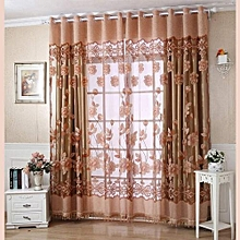 250cmx100cm Print Floral Voile Door Curtain Window Room Curtain Divider Scarf