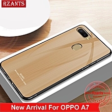 Rzants For OPPO A7 Case【Glass】Soft Edge Full Protect Cover Tempered Glass Hard Phone Casing