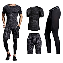 Three-piece Printing Thin Short-sleeved T-shirt Men's Running Training Sweat Breathable Sports Suits