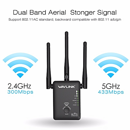 750Mbps 5GHz 2 4GHz Wireless Wifi Extender Repeater Router Network Booster  Wireless Bridge With 3 External Antennas US/EU Plug