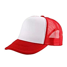 New Arrival Adjustable Child Solid Casual Hats For New Classic Trucker Summer Kids Baseball Golf Mesh Cap Sun Hats(Red&White)