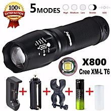 Camping & Hiking Flashlight 5000 Lumen G700 LED Zoom Flashlight X800 Military Lumitact Torch Battery Charger