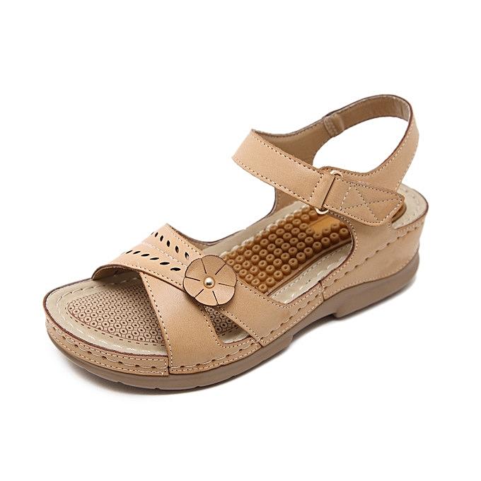 44a2b5cba55235 Rifined Women Sandals Vintage Ladies Flat Sandals Solid Color Flower Design  Flip Flop Female Casual Sandals ...