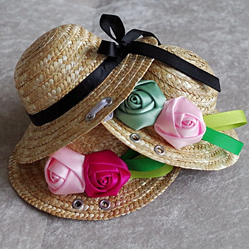 Allwin Summer Trendy Pet Dog Cat Cool Straw Hat Sun Hats Puppies Pet  Accessories pink   rose red rose M   Best Price  36d1cab2c3ad