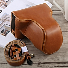 Full Body Camera PU Leather Case Bag with Strap for Fujifilm X-A5 (Brown)