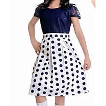 Navy blue polka dot short - sleeved cotton dress with lace bodice