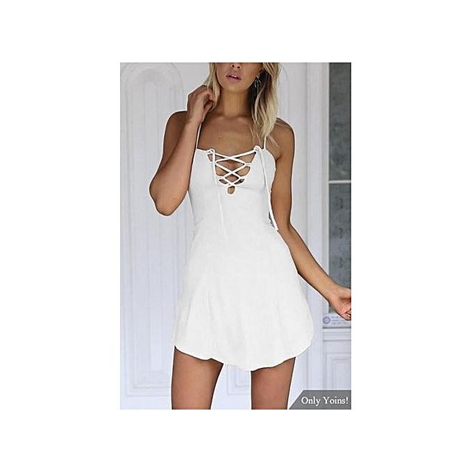 7b4a06d37ed Fashion YOINS Women Fashion Clothing Casual V-neck Sleeveless White Dress  Top   Best Price