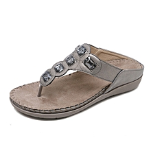 new Large size women's sandals Bohemian rhinestones Flat shoes thong sandals beach shoes-grey