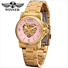 203 Women Watch Semi-Automatic Mechanical Watch Time Display Fashion Casual Stainless Steel Strap Skeleton Female Wristwatch