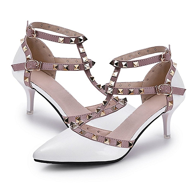 70115f47d28 TB All-match Rivet Girls High-heeled Shoes Breathable Middle Hollow-out  Sandals white