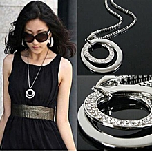 bluerdream-Long Chain Women Fashion Crystal Rhinestone  Plated Pendant Necklace Gift-Silver