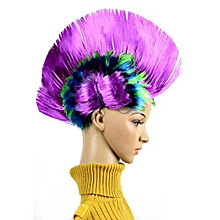 Halloween Masquerade Ball Party Punk Mohawk Mohican Cockscomb Hair Wig Costume Headdress Supplies Colour:Rainbow Purple