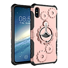 Gears Pattern Case for iPhone XS Max, with Holder & Armlet(Rose Gold)