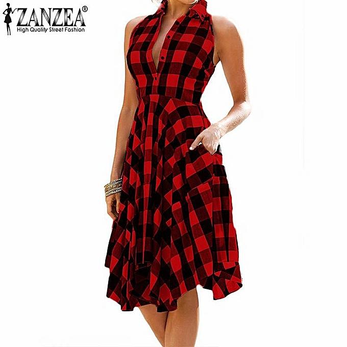 e5ded45ab6 ZANZEA Women Plus Size Sleeveless Midi Sundress Flare A-Line Shirt Dress