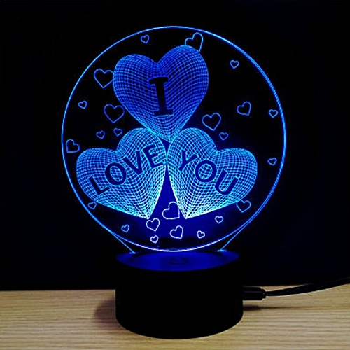 Home-Romantic Design Touch Switch Table Desk Light 3D Acrylic LED Night  Lamp colorful