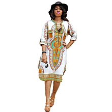 Xiuxingzi_New Women Summer Casual Deep V-Neck Traditional African Print Party Dresses