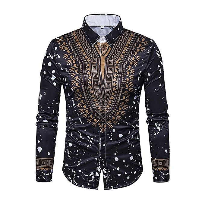 35139a378 National Pattern Printing Button up Long Sleeve Fashion Designer Shirts for  Men