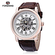 Men Auto Mechanical Watch Roman Numerals Scale Wristwatch-WHITE AND GOLDEN