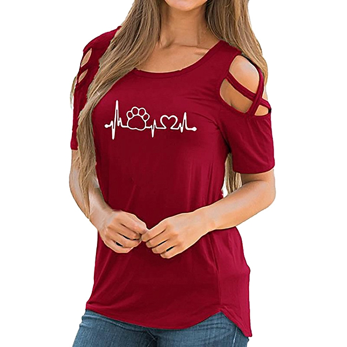 6751300aa1091 birthpar store Women Summer Short Sleeve Print Strappy Cold Shoulder T-Shirt  Tops Blouses-