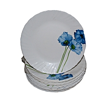 6 Piece Small Plate Set - White with Blue Flower