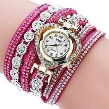 CCQ Women Vintage Rhinestone Crystal Bracelet Dial Analog Quartz Wrist Watch