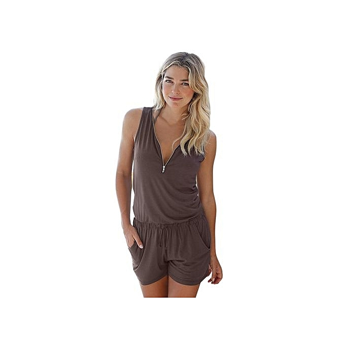 5825cb6d26 bluerdream-Womens Holiday Casual Zipper Mini Playsuit Ladies Jumpsuit  Summer Beach Rompers-Brown