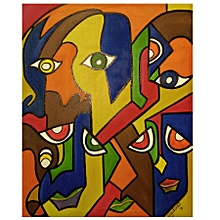 Abstract wall painting - 67 by 85cm- multicolor