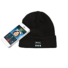Beanie Hat Wireless Bluetooth Hat Built In Headphones Headset Speaker Mic Black (Color:Black)