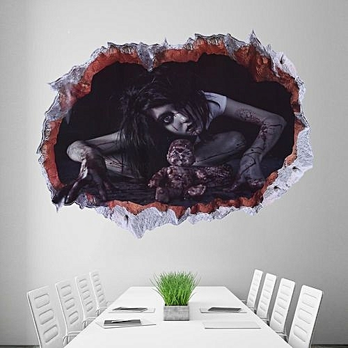 UNIVERSAL 3D Horror Ghost Wall Stickers Removable Scary Decals Halloween Profile Home Decor