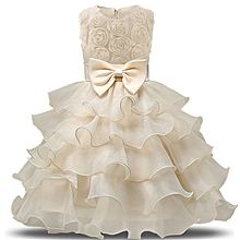 d985ddba3692 Girls Clothes Flower Girl Dress Sleeveless Tulle Wedding Party Princess  Dresses - Yellow