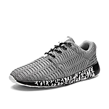 Men`s Breathable Sport Shoes Daily Walking Jogging Shoes-Grey