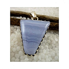 925'Sterling Silver with Blue Lace Agate Pendant